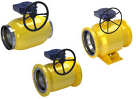 vexve gas ball valves, reduced bore with gears and actuators