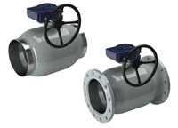 vexve stainless steel ball valves, reduced bore with gears and actuators