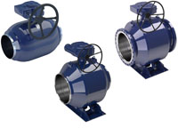 vexve steel ball valves, full bore with gears and actuators